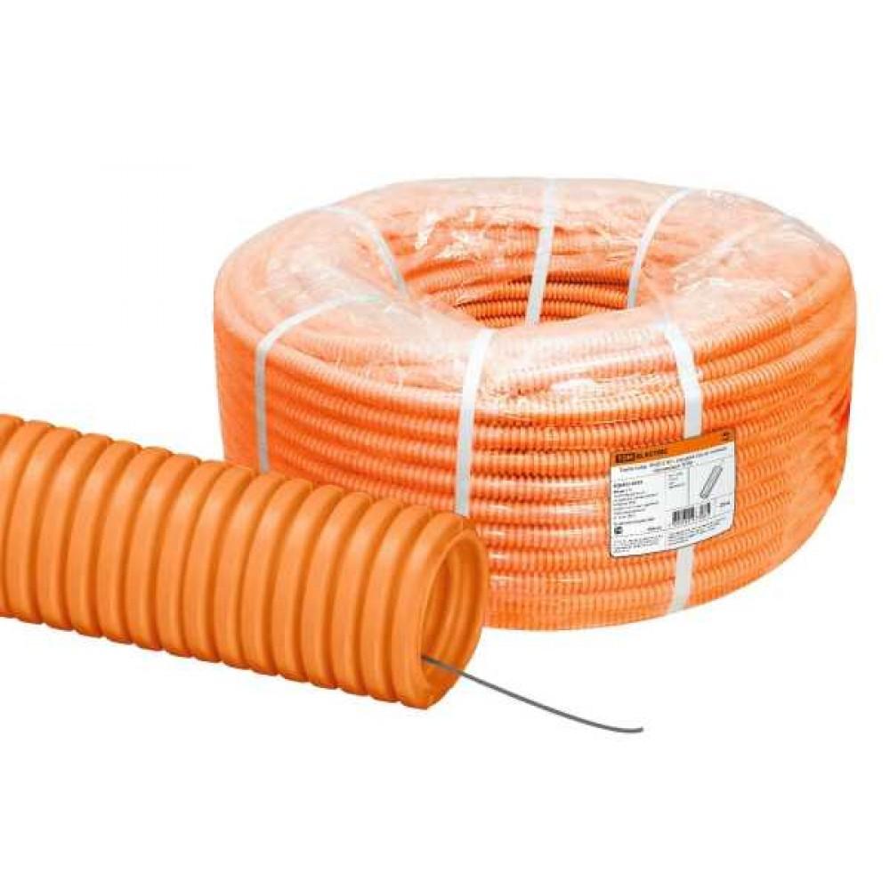 Труба ПНД гофрированная д.16мм, тяжёлая с протяжкой, цвет оранжевый [бухта 100м]