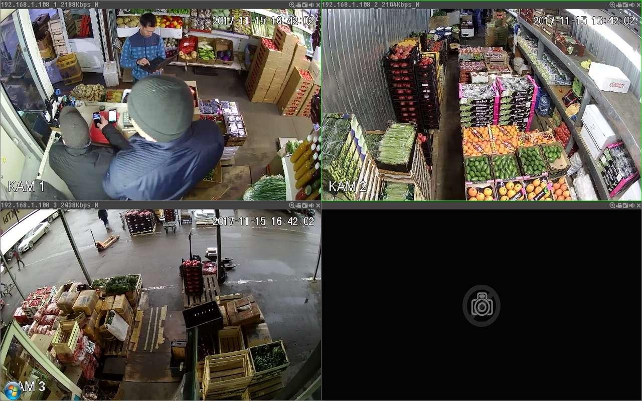 Установка видеонаблюдения на складе Фуд Сити