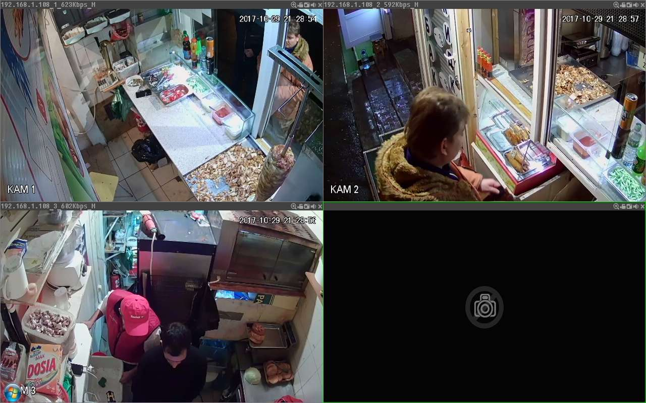 Установка видеонаблюдения в палатке шаурму м.Университет