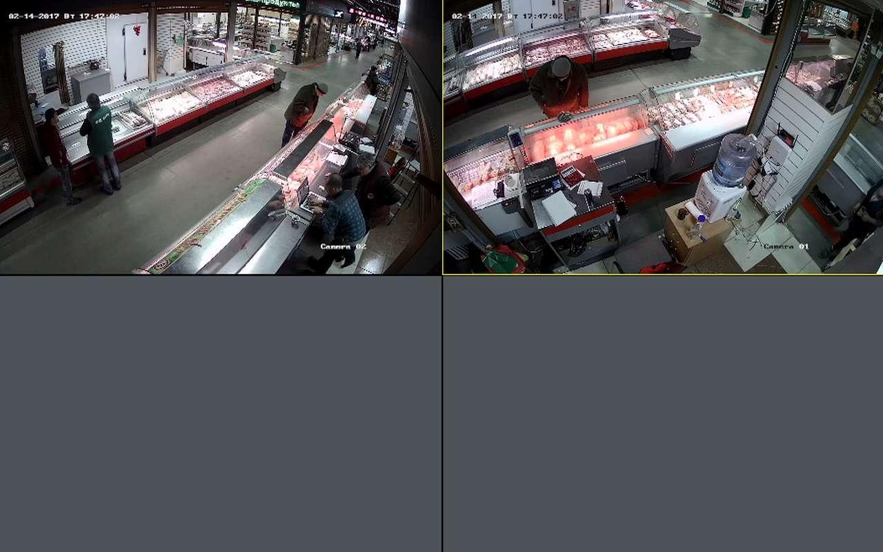 Установка видеонаблюдения в мясной магазине Фуд Сити