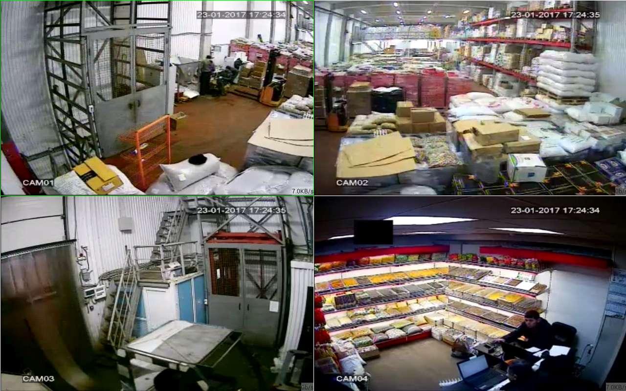 Установка видеонаблюдения на складе сухофруктов Фуд Сити